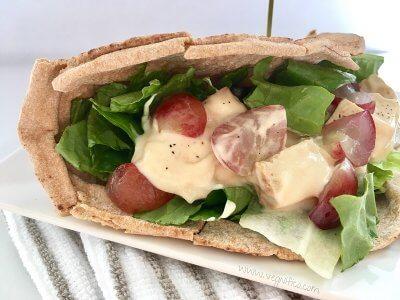 creamy tofu flatbread sandwich