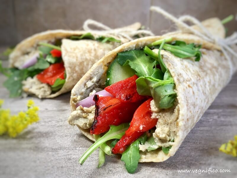 arugula roasted red pepper wraps