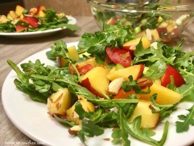 easy peach arugula